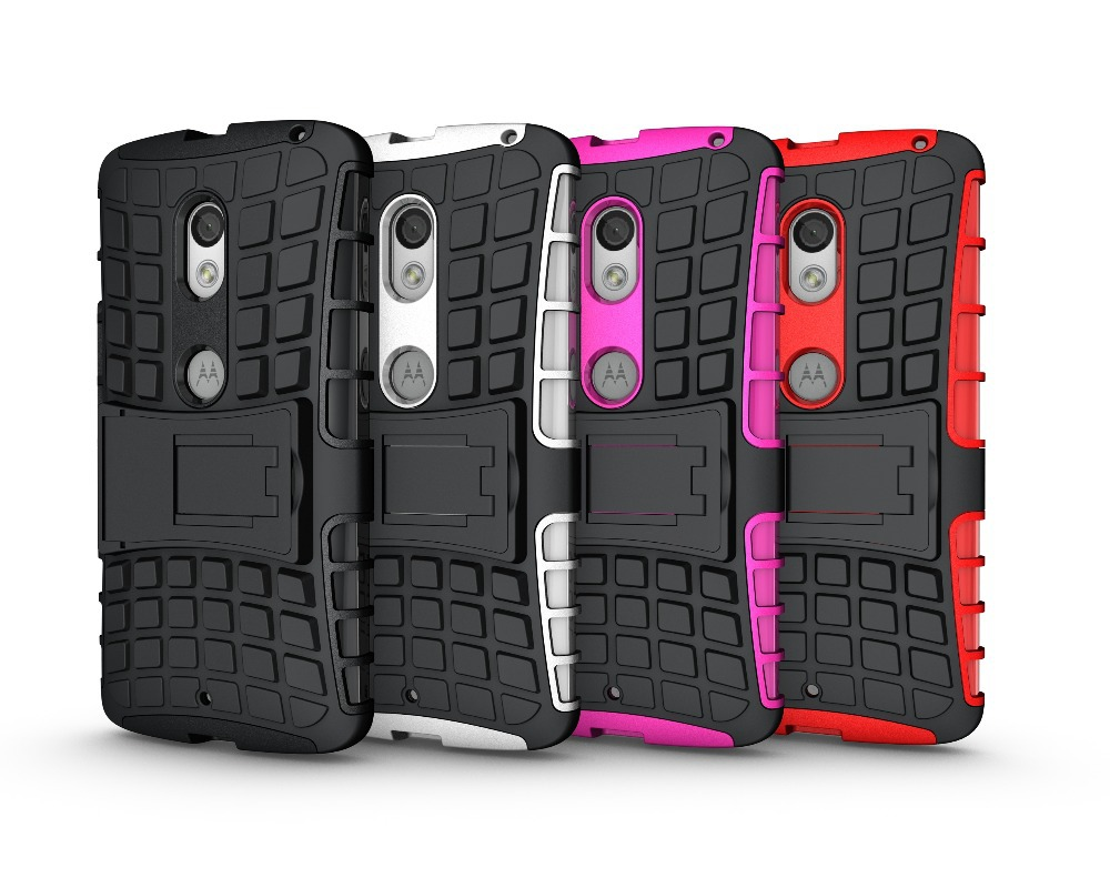200pcs/lot Dual Layer Heavy Duty Rugged Armor Cell Phone Hybrid Kickstand Case For Motorola Moto X3 Play Cover Skin Shockproof(China (Mainland))