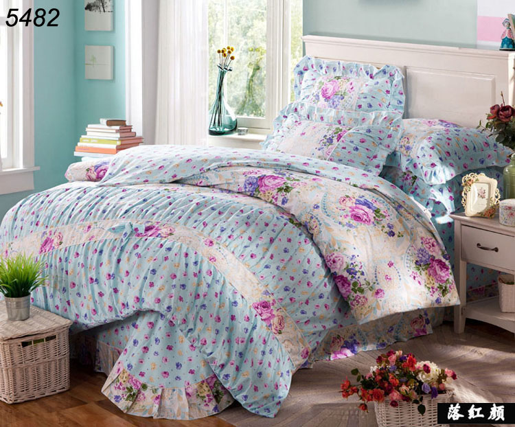 Beautiful flowers korean type princess 4pcs bed set 100 for Types of bed covers