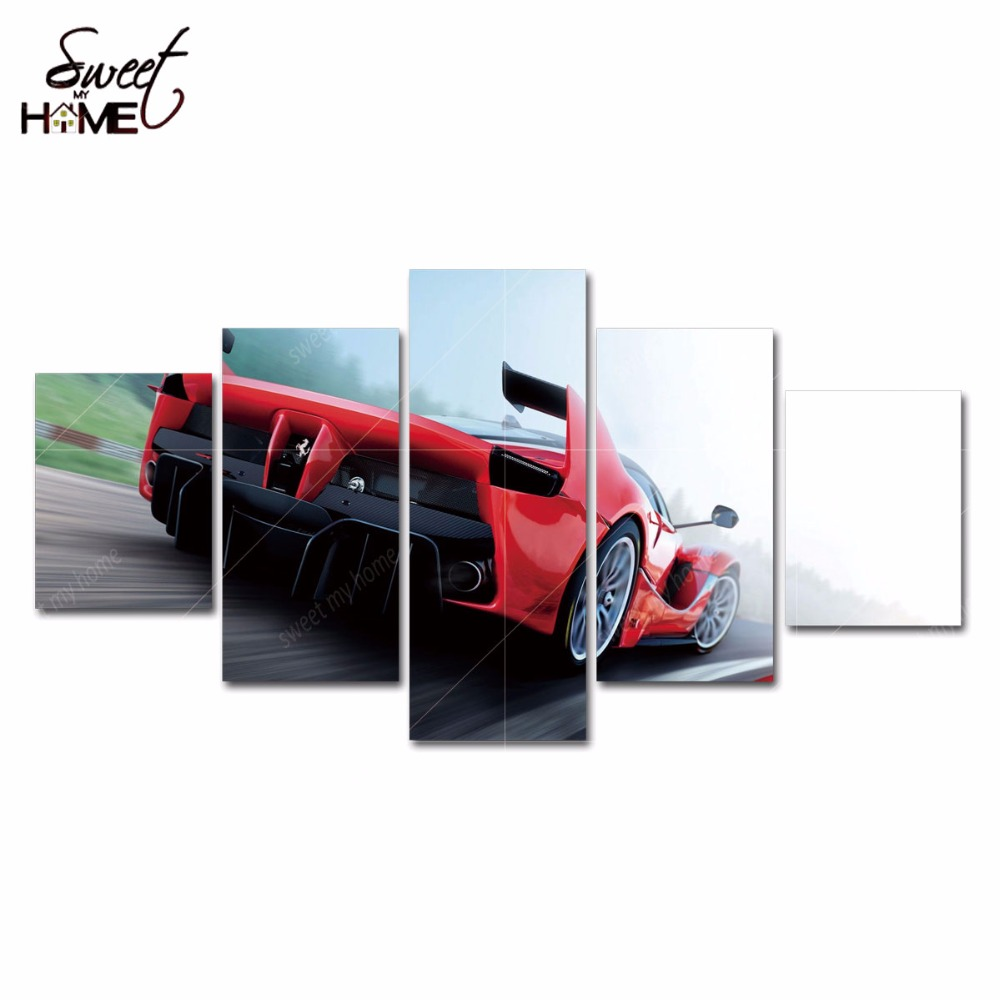 5 Panels Modern Home Decor Car Pictures Wall Art Living Room Painting Large Canvas Art Unframed(China (Mainland))
