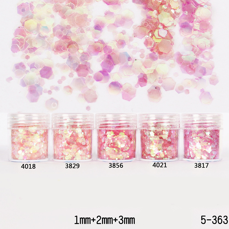 10ml/Box Pink Red Glitter Powder Tips 1mm & 2mm & 3mm Mixed Powder Glitter for Nail Art Decoration(China (Mainland))