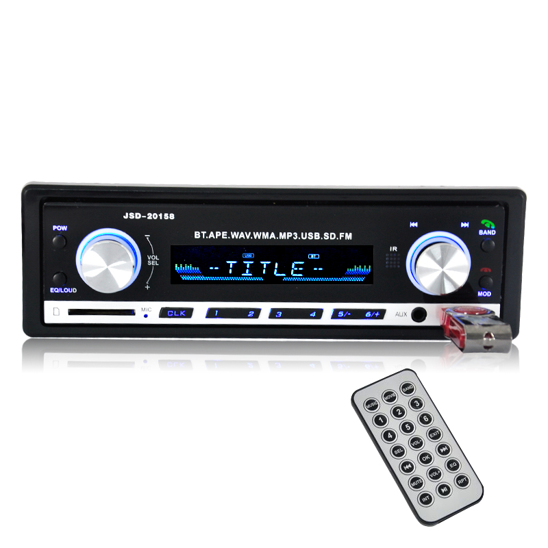 New 12V Bluetooth Car Stereo FM Radio MP3 Audio Player 5V Charger USB/SD/AUX/FLAC Car Electronics Subwoofer In-Dash 1 DIN WMAID3(China (Mainland))