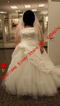 Free Shipping Organza Plus Size Wedding Dresses 2015 Vestido de noiva manga longa Zipper Customized Size And Color Long Graceful(China (Mainland))