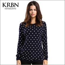 Women Sweater and Pullovers 2016 Casual Plus Size Women Clothes Winter Long Sleeve O-neck Polka Dot Elegant Women Sweater M-065(China (Mainland))