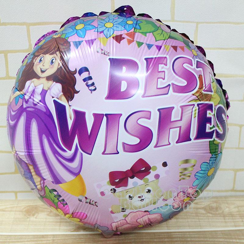 new arrivel round shape princess balloons best wishes foil ballons purple cartoon balloon 18inch birthday wedding air globos<br><br>Aliexpress