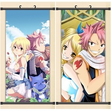 45X95CM Mashima Hiro FAIRY TAIL lucy heartfilia-natsu cartoon art anime wall picture mural scroll cloth canvas painting poster
