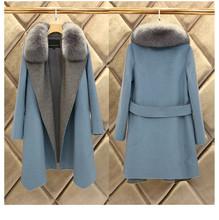 2016 женщин кашемир верхняя одежда пальто шерстяное пальто из искусственного меха синего долго шерстяное пальто для женщин зимнее пальто манто роковой