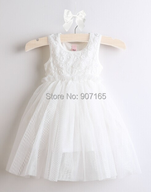 New design baby rose style formal party dress, baby cotton summer birthday wedding dress(China (Mainland))