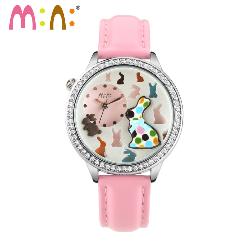 Lovely Clay Rabbits Women Casual Genuine Leather Watches Blingbling Crystals Girls Fashion Party Dress Wrist watch Quartz NW7060<br><br>Aliexpress
