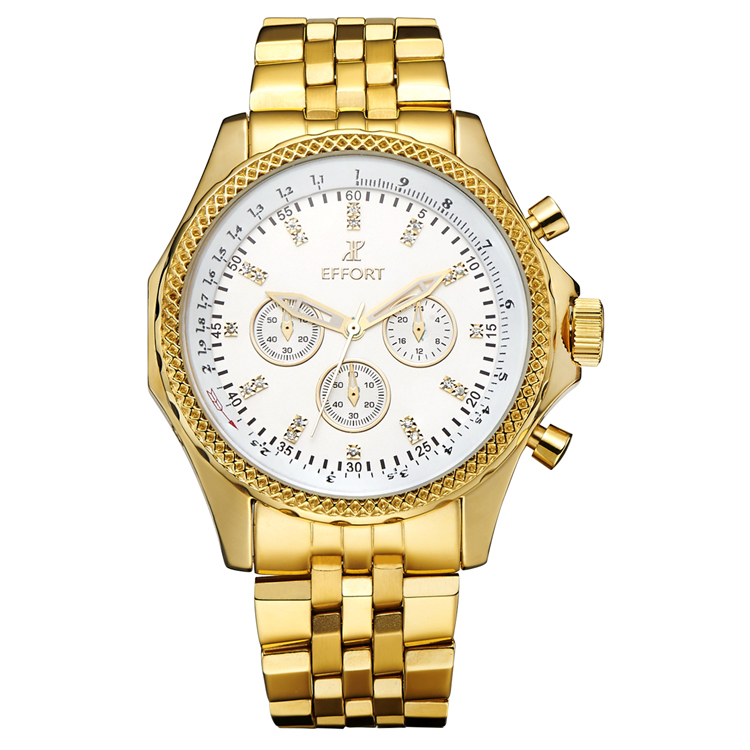 Golden New Clock Gold Fashion Men Watch Full Gold Plated Stainless Steel Quartz  Wrist Watch Wholesale EFFORT Gold watch men