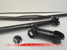 MTB parts kit Full size Carbon Fiber Bicycle Cycling bike MTB flat riser handlebar seatpost stem top cap