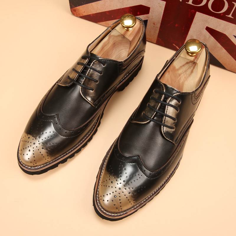 Tidog-Vintage Bullock pointed shoes mens casual shoes stylist Korean carved increased lace<br><br>Aliexpress