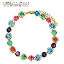 Neoglory MADE WITH SWAROVSKI ELEMENTS Crystal & Rhinestone Charm Bracelet Multicolor Flower Beads 14K Gold Plated Elegant Bangle(China (Mainland))
