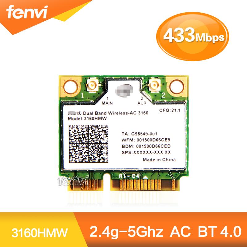 Dual Band Wireless-AC 3160 3160HMW half Mini PCI-e bluetooth Wireless wifi card WI-FI 802.11 ac+Bluetooth 4.0 up to 433 Mbps<br><br>Aliexpress