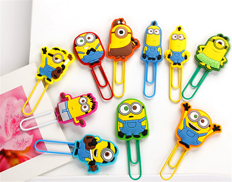 10pcs/set 7cm Funny Despicable Me/ Minions Paper Clips /Bookmarks for Book Page Holder,School/Office Supplies(China (Mainland))