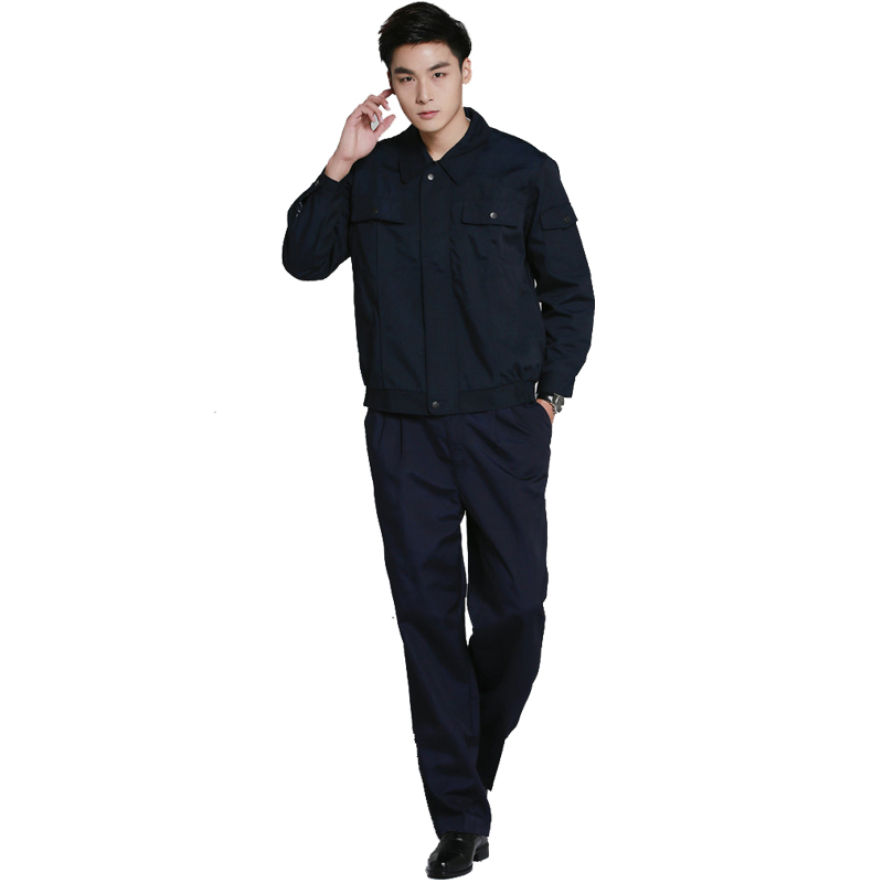 Fashion new high quality long sleeve men security guard clothing turn-down collar solid color loose zipper uniform suit #ld9315<br>