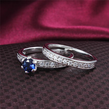 2PCS Classic 0 8 Carat Bridal wedding Ruby Sapphire CZ Diamond ring Engagement rings set for