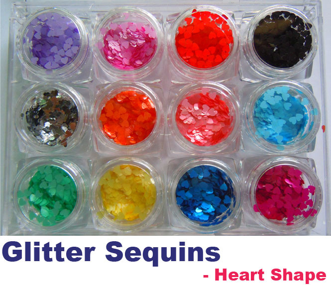 12 Color Nail Art Acrylic Glitter Sequins Powder Set Decoration Tool Heart Shape(China (Mainland))