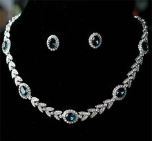 NEW 18K White Gold Plated Luxury Austria Crystal Blue Vintage necklace & earrings bride jewelry set !(China (Mainland))