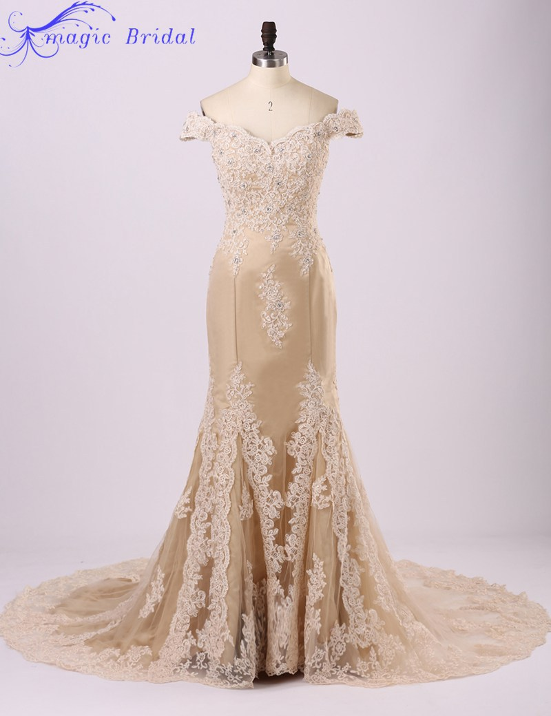 Champagne lace mermaid wedding dress for Wedding dress champagne lace
