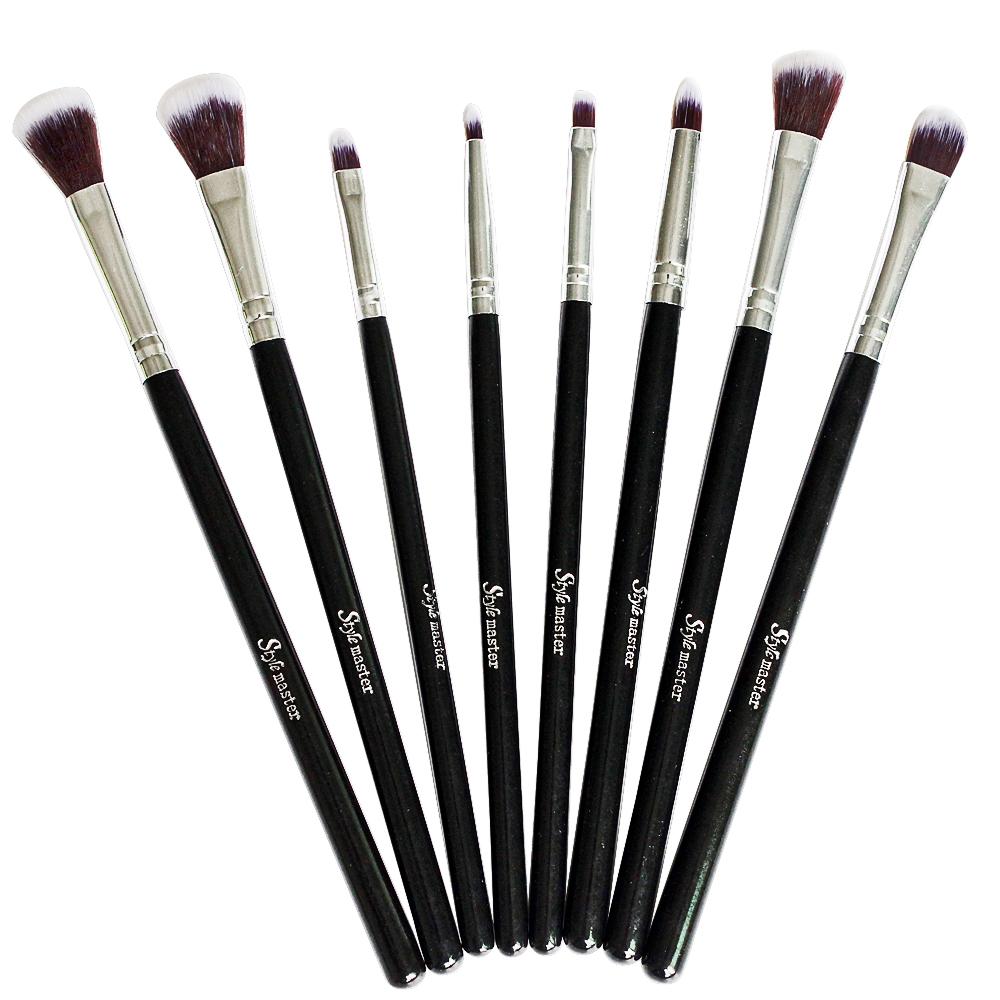 8 Pcs Makeup Brushes Set Synthetic Hair Cosmetics Foundation Blending Tools Kit Eye Liner Shading Concealer Angle Pencil Brush(China (Mainland))