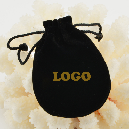 7*8 cm Small European Brand Black Velvet Pouch Bag Stamped Logo<br><br>Aliexpress