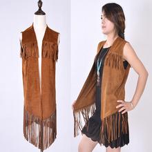 2015 Hot Boho Woman Bohemian Cape Poncho Shawl Scarf Tribal Long Tassel Fringe PU Suede Leather Jacket Loose Casual cape shawl(China (Mainland))