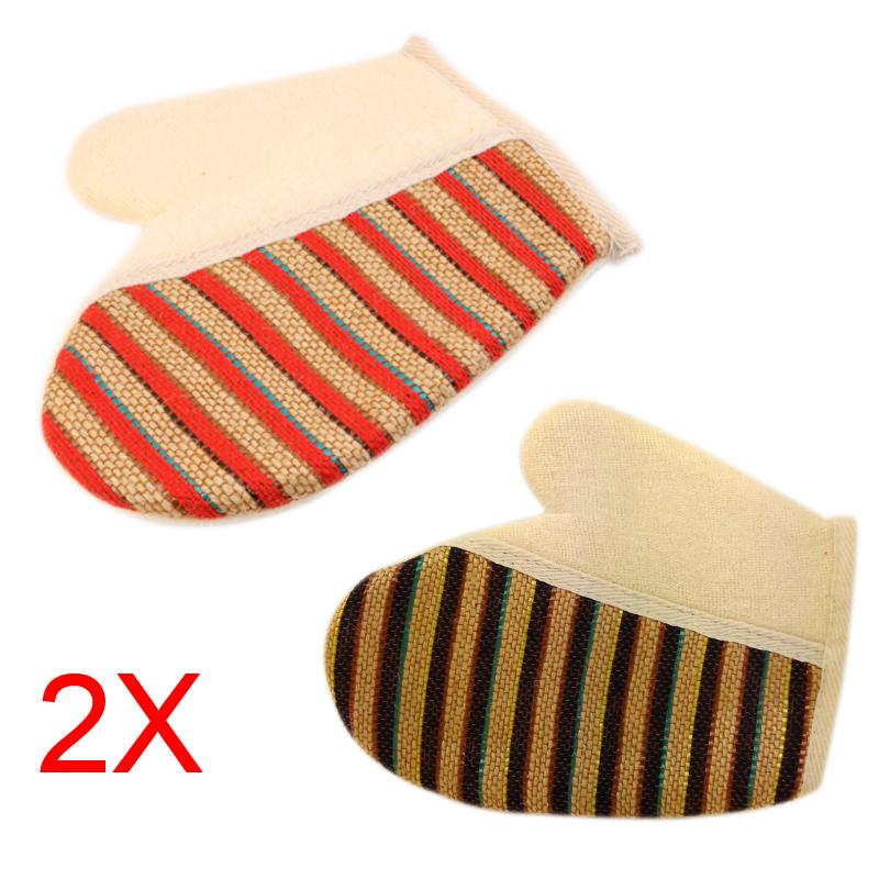 2pcs New Stripe Shower Scrubber Back Scrub Exfoliating Body Massage Sponge Bath Gloves Random Color(China (Mainland))