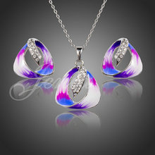 Jenia Platinum Plated Rhinestone Oil Painting Pattern Triangle Stud Earrings and Necklace Jewelry Set XS094(China (Mainland))