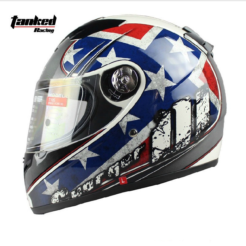 Фотография Free Shipping!Tanked Racing Motorcycle Helmets,automobile race winter Helmet,Full Face Helmets,blue star,ECE safe Approved,T105