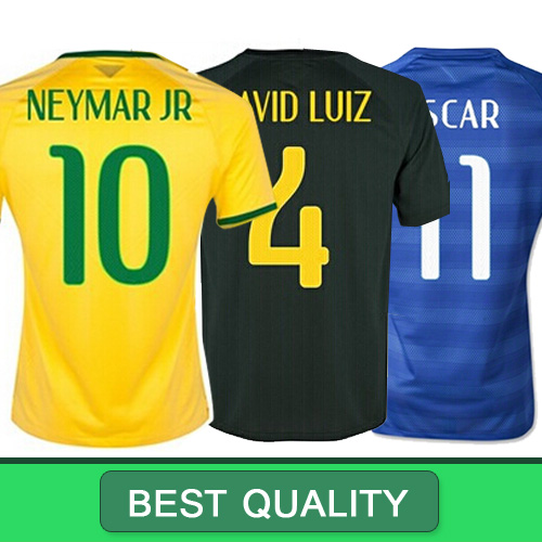 Brazil Shirt Home Away Brazil Jersey 2014 Wold Cup Yellow Blue NEYMAR JR OSCAR PELE Soccer 2014 camisa brasil futebol Jersey(China (Mainland))