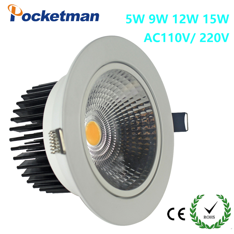 zk90 New Recessed led downlight cob 5W 7W 9W 12W LED Spot light led ceiling lamp AC 110V 220V free shipping(China (Mainland))