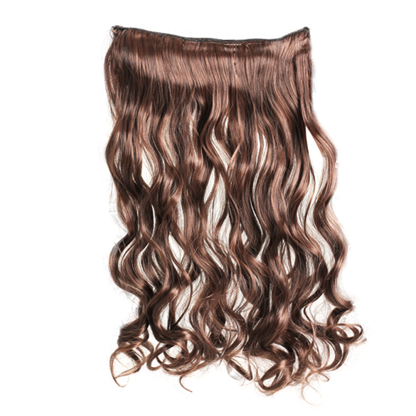 Light Brown Long 55cm Curl Wavy Clip-on Sexy Stylish Hair Extension