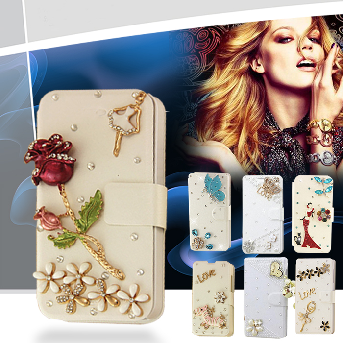 White case Bling Crystal Pearl Studded Silver flower Tower For BlackBerry Q10 Wallet Case Cover(China (Mainland))