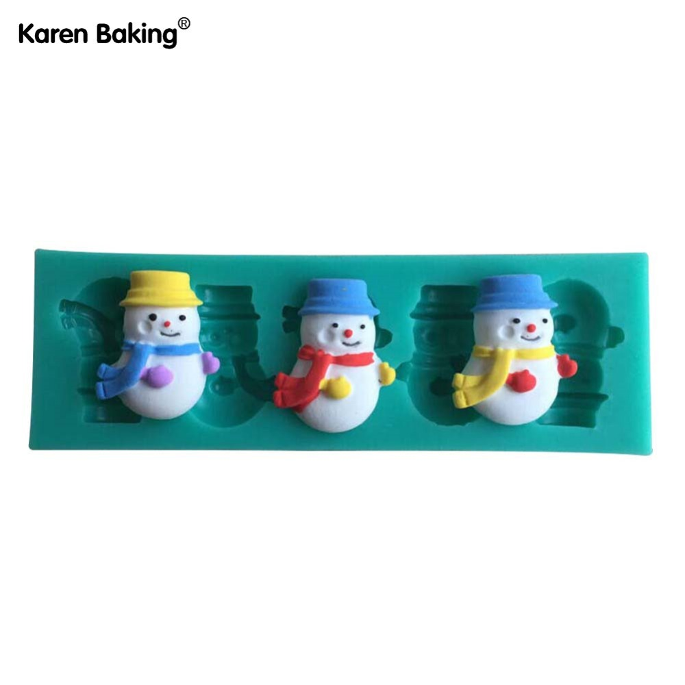 Cute And Lovely Snow Man Shape 3D Fondant Cake Lace Mold Tools For Decorating -C427(China (Mainland))