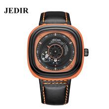 JEDIR Men Sports Skeleton Watch Leather Strap Square Dail Wristwatch Fashion Mens Mechanical Watches Waterproof Automatic Watch