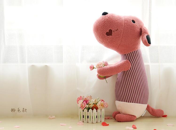 New Cute Kiss Dog Soft Stuffed Plush Toys Kawaii Puppy Doll Girl's Christmas Gift One Piece Sitting Height 55cm(China (Mainland))
