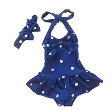 2016 New Summer Girls Swimsuit Dots Bow Fashion Baby Swim Sets Bikini Children Skirt Swimsuits for Kids Girl Tankini(China (Mainland))