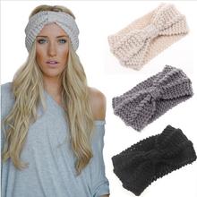 1 PC Women Lady Crochet Bow Knot Turban Knitted Head Wrap Hairband Winter Ear Warmer Headband Hair Band Accessories(China (Mainland))