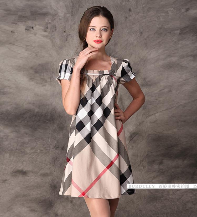 New 2014 Women's Cotton Dress Short Sleeve Knee-Length Solid Appliques Beading Women Summer Casual Dress(China (Mainland))