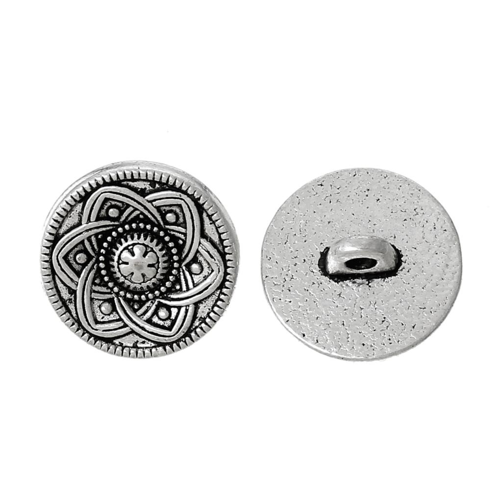 Zinc metal alloy shank button metal buttons round antique for Buttons with shanks for jewelry