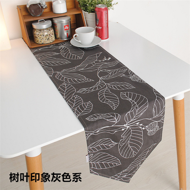 100 Cotton Canvas Modern Style Printed Leaves Table Runner Double Sides Accept Customized 2 Colors 30