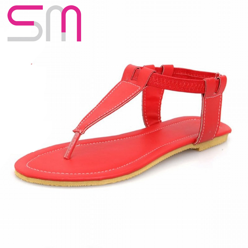 2015 New Gladitor T-strap Sandals Brand T-strap Flip-flops Flat Sole Sandals Summer Slippers Women Flats Ankle Strap Sandals<br><br>Aliexpress
