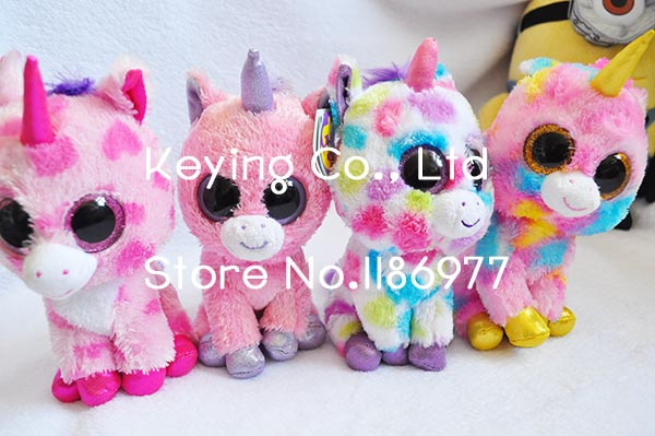 New Arrival Cute TY Beanie Boos Colorful Unicorn Stuff Animal Plush Toy Doll Birthday Baby Girl Boy Gift Home Car Decoration(China (Mainland))