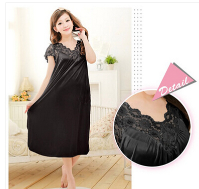 Free shipping women black lace sexy nightdress girls plus size bathrobe Large size Sleepwear nightgown Y02-2(China (Mainland))