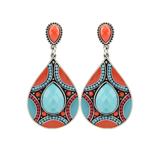 Brincos New Drop Earrings For Women Ethnic Vintage Silver Plated Multicolor Bead Large Bohemia Dangle Earrings Statement Jewelry(China (Mainland))
