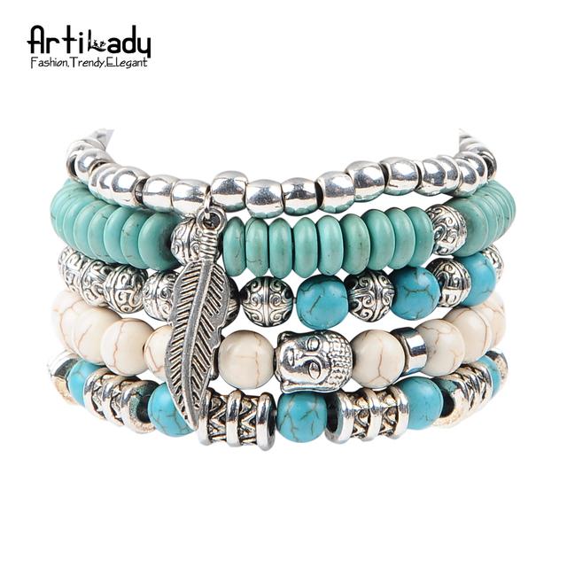 Artilady новый будда бусины 5 шт. комплект браслеты boho бирюзовый браслет для заявление ...