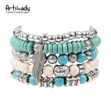 Artilady new buddha beads 5pcs set bracelets boho turquoise bracelet set for statement women jewelry party gift(China (Mainland))