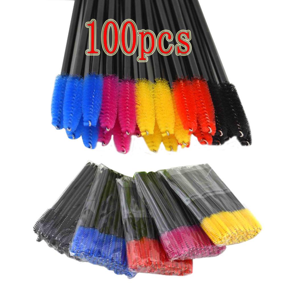 China Origin 100Pcs Mini Disposable Eyelash Brush Mascara Wands Applicator Lot 4 Color (Black Red Yellow Blue)(China (Mainland))