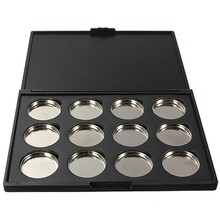 12Grid Empty Eye Shadow Concealer Aluminum 26MM Black Palette Pans Makeup Tools Cosmetics DIY Box Fashion(China (Mainland))