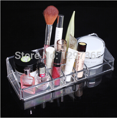 Lipstick Makeup Cosmetic Display Stand holders 9+2 grids clear plastic organizers(China (Mainland))